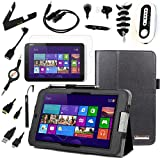 BIRUGEAR 12 Items Essential Accessories Bundle kit for Acer Iconia W3-810 - 8.1' Windows 8 Tablet -- Black Classic Leather Folio Stand Case Cover included
