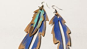 Make Wood Veneer Feather Earrings