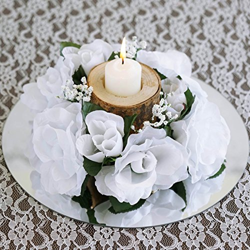 BalsaCircle 8 pcs Silk ROSES Flowers Candle Rings Wedding Centerpieces - White