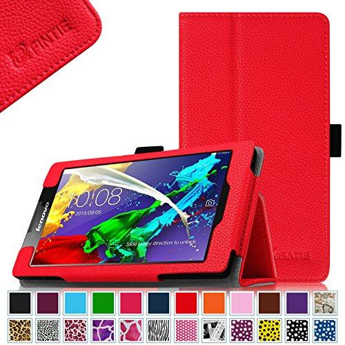 Fintie Lenovo Tab 2 A7-10 / A7-30 Folio Hülle Case Cover Tasche Etui - Premium Leder Schutzhülle mit Auto Sleep / Wake für Lenovo Tab 2 A7-10/ A7-30 17,8 cm (7 Zoll) IPS Android Tablet, Rot