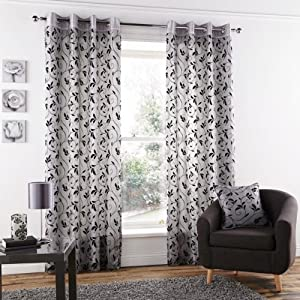"Silver Black Faux Silk Ring Top Lined Flocked 90"" X 90"" Curtains *tforchsa* by PCJ SUPPLIES"