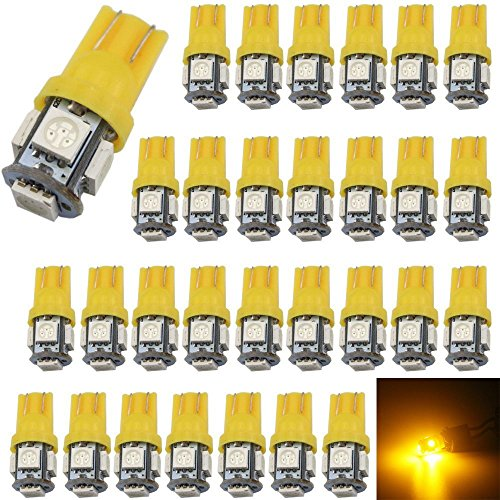 30-Pack 194 Amber LED Light 12V, AMAZENAR Car Interior and Exterior T10 5-SMD 5050 Chips Replacement For W5W 168 2825 Map- Dome- Courtesy- License Plate- Dashboard Side Marker Light (Led Amber Cab Lights compare prices)