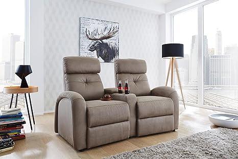 2er Cinema Sessel in geprägtem Microfaser-Stoff in beige, 2 Getränkehalter, 1 Stauraumfach in Armlehne, Körperdruckverstellung, Tiefe: ca. 85-165 cm