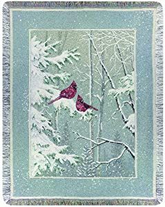 Manual Woodworkers and Weavers Holiday Collection Tapestry Throw, Peace in the Pines, 50 by 60-Inch
