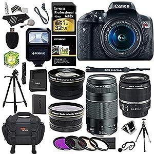 Canon EOS Rebel T6i 24.2 MP Digital SLR Camera 18-55mm STM Lens + Canon EF 75-300mm f/4-5.6 III Lens + Polaroid .43x HD Wide Angle Lens & 2.2X Telephoto Lens + Lexar 32 GB + Tripod + Accessory Kit