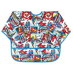 Bumkins DC Comics Sleeved Bib, Superman Comic, 6-24 Months