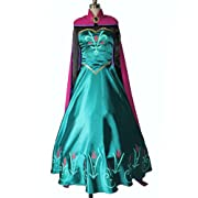 Frozen Snow Queen Elsa Cosplay Coronation Dress Costume-girls