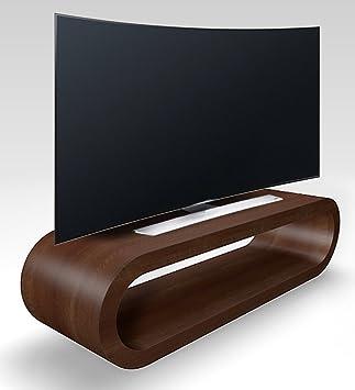 Design Retrò Stile Cerchio Grossa Noce Opaco Porta Tv / Armadietto 110 cm