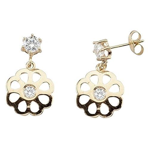 18k gold earring long openwork rosette zircons [5834]