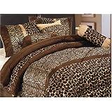7 Piece Safari - Zebra - Giraffe Print Brown Micro Fur Comforter Set, Bed in Bag, Queen Size