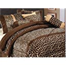 7 Piece Safari   Zebra   Giraffe Print Brown Micro Fur Comforter Set Bed In Bag King Size