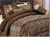 61GQS%2B9gPaL. SL160  7 Piece Safari   Zebra   Giraffe Print Brown Micro Fur Comforter Set, Bed in Bag, Queen Size