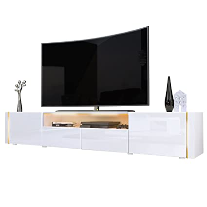 TV Stand Unit Marino V2, Carcass in White / Front in White High Gloss
