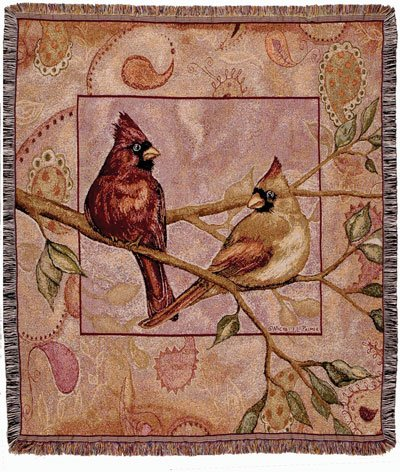 "Cardinal Companions Bird Tapestry Throw Blanket 50"" X 60"" front-1047278"