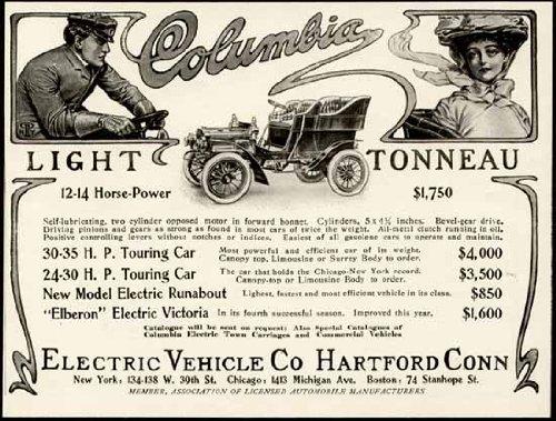 Exquisite 1904 Ad For Columbia Electric Motor Cars Original Paper Ephemera Authentic Vintage Print Magazine Ad / Article