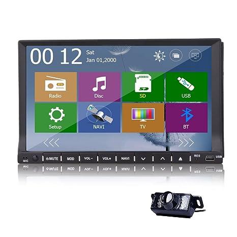 GPS Carte Double + 2 Din pont de navigation GPS voiture lecteur DVD CD VCD AVI stšŠršŠo Bluetooth iPod Radio Unit Head + Retour CAMERA