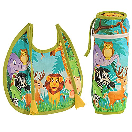 Digitally printed 300 TC Cotton Quilted Bib And Bottle Cover Set For Infant Kids-Jungle Animal (Printed Baby Bottles compare prices)