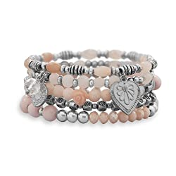 Silver Tone Fashion Stretch Beaded Bracelet Set, Rose Quartz, Agate, Crystals, Floral/Heart Charms