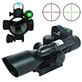 IRON JIA'S Spike 2.5-10X40 Hunting Tactical Rifle Scope w/Green Laser & Mini Reflex 3 MOA Red Dot Sight Airsoft