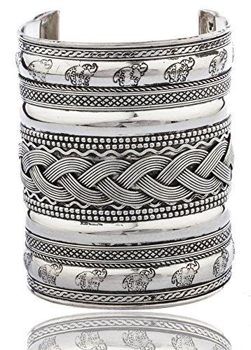 silvertone-braided-design-375-inch-adjustable-antique-cuff-bangle