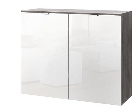 Solutions 30803-610 Kommode mit zwei Drehturen, 100 x 80 x 42 cm, silber-eiche / lackweiß, Holzwerkstoff