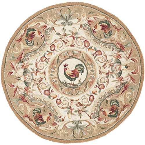 Safavieh Chelsea Collection HK48T Hand-Hooked Taupe Wool Round Area Rug, 4 feet in Diameter (4' Diameter)
