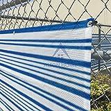 AL© Mediterranean Style Privacy Screen Fence Mesh Windscreen Backyard Deck Patio Balcony 35'' X 26' Blue&white Stripe