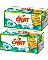 Le Chat - Eco-Efficacité - Lessive Écologique en Tablettes - Boîte 32 Tablettes / 16 Lavages - Lot de 2