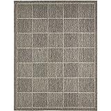 Checked Flatweave Anti Slip Rugs, Grey - 160 x 225cms (5ft 3