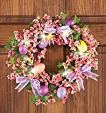 Lighted LED Easter Eggs Berries Pastel Lavender Bow Spring Wall Hanging Door Wreath Decor Springtime Decoration