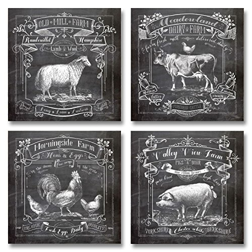 Chalkboard-Style Kitchen Art; Dairy Farm, Old Mill Farm, Mornighside Farm, Valley View Farm; Sheep, Cow, Rooster, Pig; Four 12x12in Paper Prints (Printed on paper to look like chalkboard) (Old Style Chalkboard compare prices)