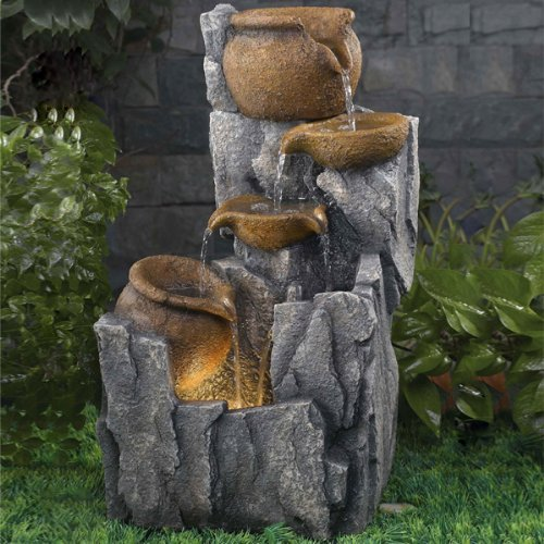 Cascading Urns Lit Water Feature