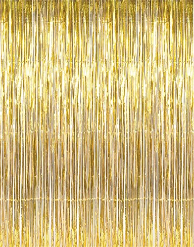 GIFTEXPRESS Metallic Gold Foil Fringe Curtain set of 2/Photo Backdrop/hanging Tinsel/Hanging curtain/foil fringe window cutain/doorway curtain/entrance curtain (Gold Streamer Backdrop compare prices)