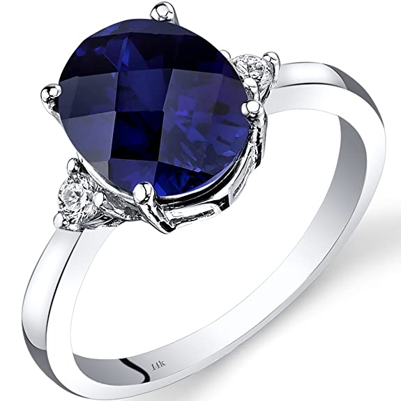 Revoni 14ct White Gold Created Sapphire Diamond Ring 3.50 Carat Oval Cut