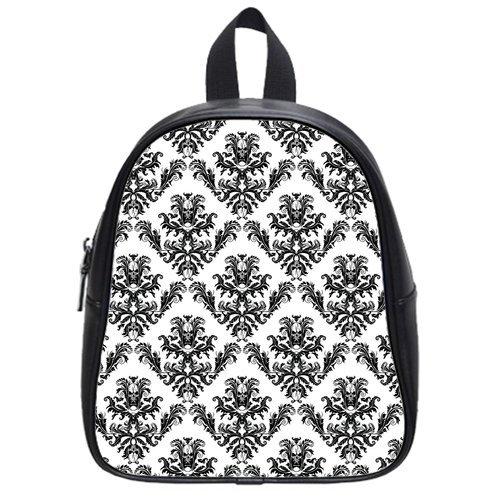Atnee Unique Skull Damasks Design Black Backpack School Bag Satchel Size S
