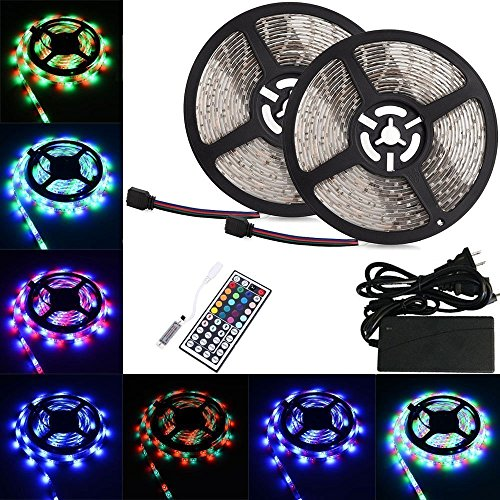LTROP 2 Reels 12V 32.8ft Waterproof Flexible LED Strip Light Kit, Color Changing SMD3528 RGB with 600 LEDs Light Strips + Mini 44-key IR Controller + 12V 5A Power Supply (Color Changing Leds compare prices)