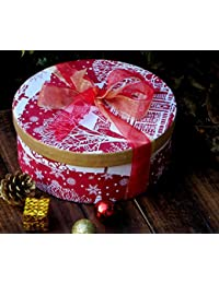 Beithak Handmade Paper Round Box Christmas And New Year Gifting Red And White