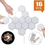 Smart Touch-Sensitive Hexagonal Wall Lights Modular LED Honeycomb Night Lights Creative Geometry Assembly DIY Modern Wall Lamps Decoration for Bedroom DIY Lovers Gifts (16pcs) (Color: 16pcs)