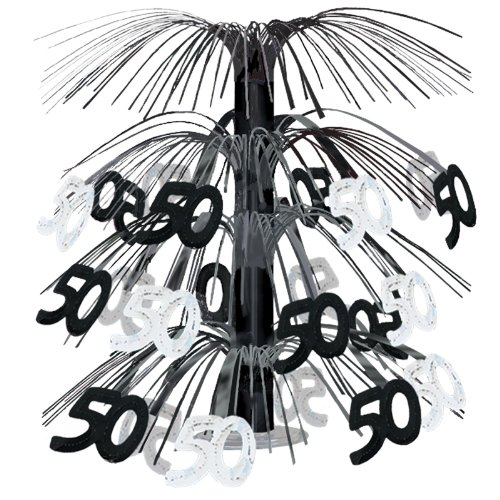 50 Cascade Centerpiece (black & silver) Party Accessory  (1 count) (1/Pkg)