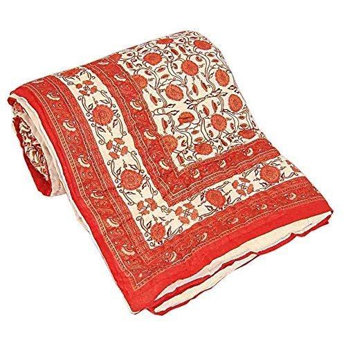 Nuevo estampado Jaipuri Little India Razai de funda de edredón para cama de matrimonio rojo