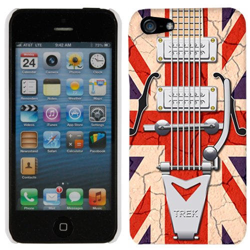 Apple Iphone 5 Retro Vintage Electric Guitar With Ragged Union Jack Flag Hard Case Phone Cover