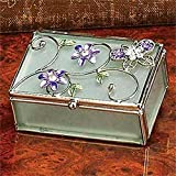 Purple Butterfly and Flowers Glass Jewelry Trinket Box