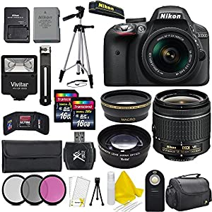 Nikon D3300 24.2 MP CMOS Digital SLR Camera + AF-P 18-55mm VR II Zoom Lens + Professional Accessory Kit (20 Items) - International Version(No Warranty)