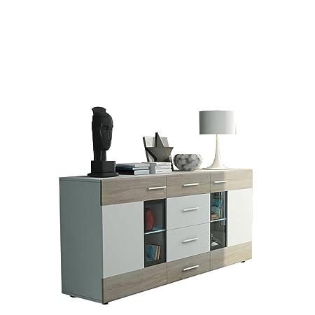 Kommode Twist Anrichte Highboard Sideboard Schrank Naturtöne Mehrzweckschrank Wohnzimmerschrank, Anrichte (ohne Beleuchtung, Weiß / Eiche Sonoma + Weiß)