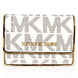 MICHAEL Michael Kors Womens Accordion Card Case (Vanilla Signature/Gold)
