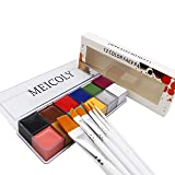 12 Colors Face Body Paint Oil Painting Art Halloween Party Fancy Beauty Makeup Brushes Eye Shadow Kit with Brushes (Color: face paint + brushes)