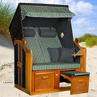 Strandkorb BALTIC-R GNC, anthrazit, grün-weißer Nadelstreifenbezug, LILIMO ® von LILIMO ® auf Gartenmöbel von Du und Dein Garten