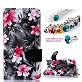 CocoZ® Samsung Galaxy Note 4 Hawaiian Flowers Beautiful PU Leather Wallet Type Flip Case Cover with Credit Card Holder Slots for Samsung Galaxy Note 4 Inch Release on 2014 (Black with Hawaiian Flowers Pattern Design)