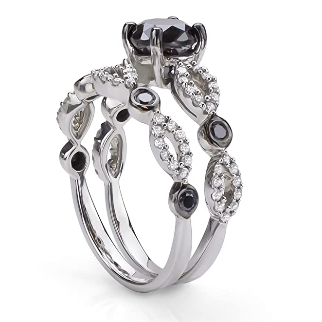Black and White Diamond Bridal Ring