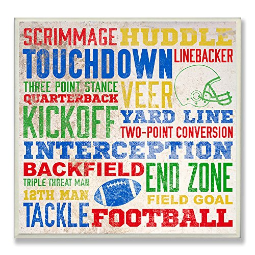 The Kids Room by Stupell Football Words Typography Square Wall Plaque